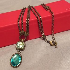 Jewelry - Turquoise Iridescent Pendant Double Chain Necklace